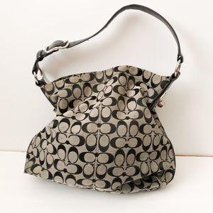 Coach black gray signature print shoulder bag